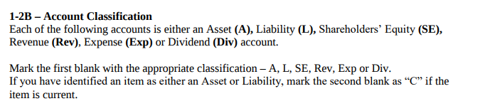 account classification method example